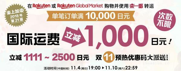 乐一番 x 日本Rakuten 国际转运满赠活动