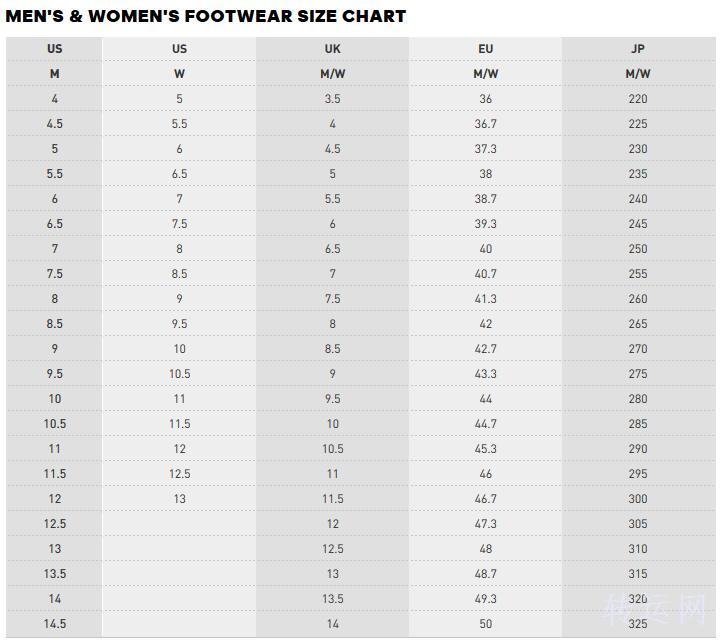 海淘adidas阿迪达斯鞋子尺码对照表