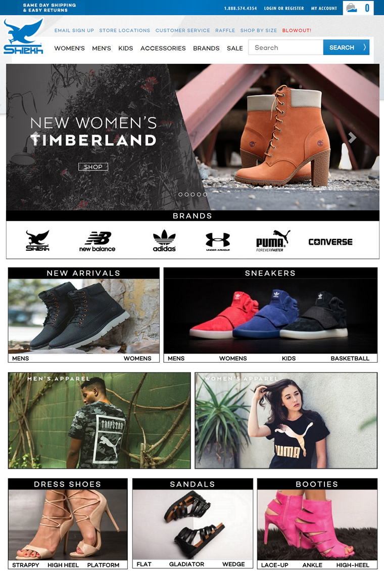 美国鞋类购物网站:Shiekh Shoes