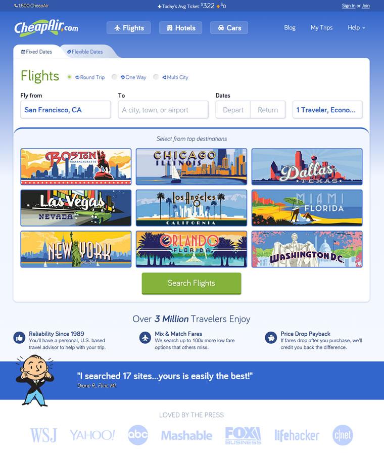 采用专利算法搜索最廉价的机票:CheapAir