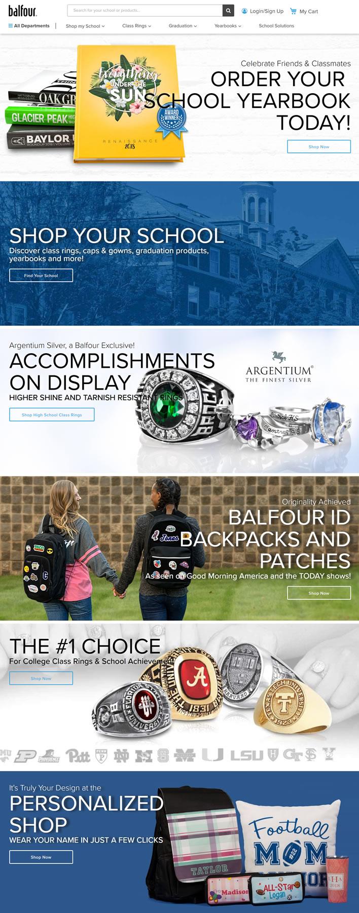 美国班级戒指、帽子和礼服、毕业产品、年鉴:Balfour