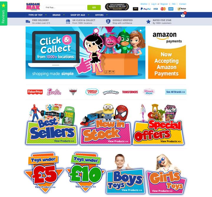 英国第一的购买便宜玩具和游戏的在线购物网站:Bargain Max