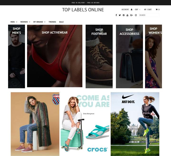 英国女士和男士时尚服装网上购物:Top Labels Online