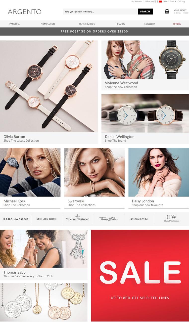 英国珠宝网站Argento: PANDORA, Olivia Burton和Nomination