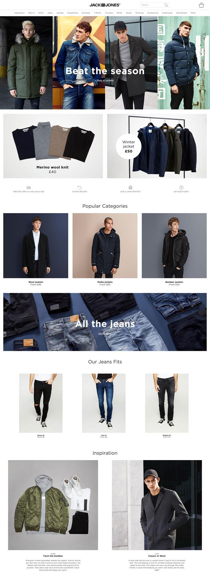 JACK & JONES英国官方网站:欧洲领先的男装生产商
