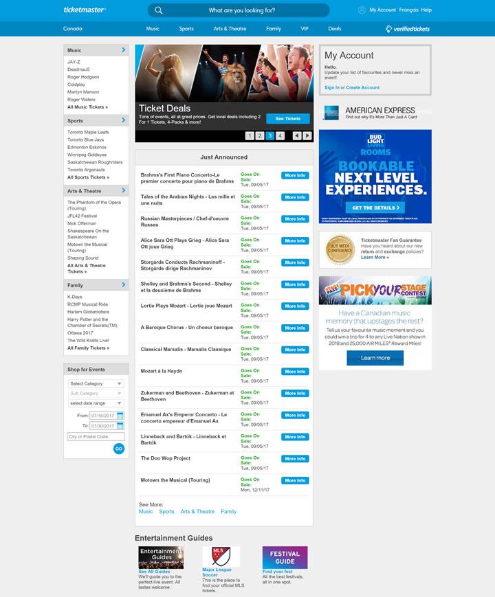 加拿大票务网站:Ticketmaster加拿大