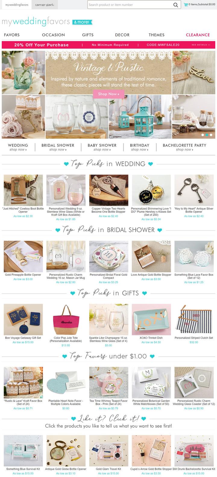 美国婚礼礼品网站:MyWeddingFavors