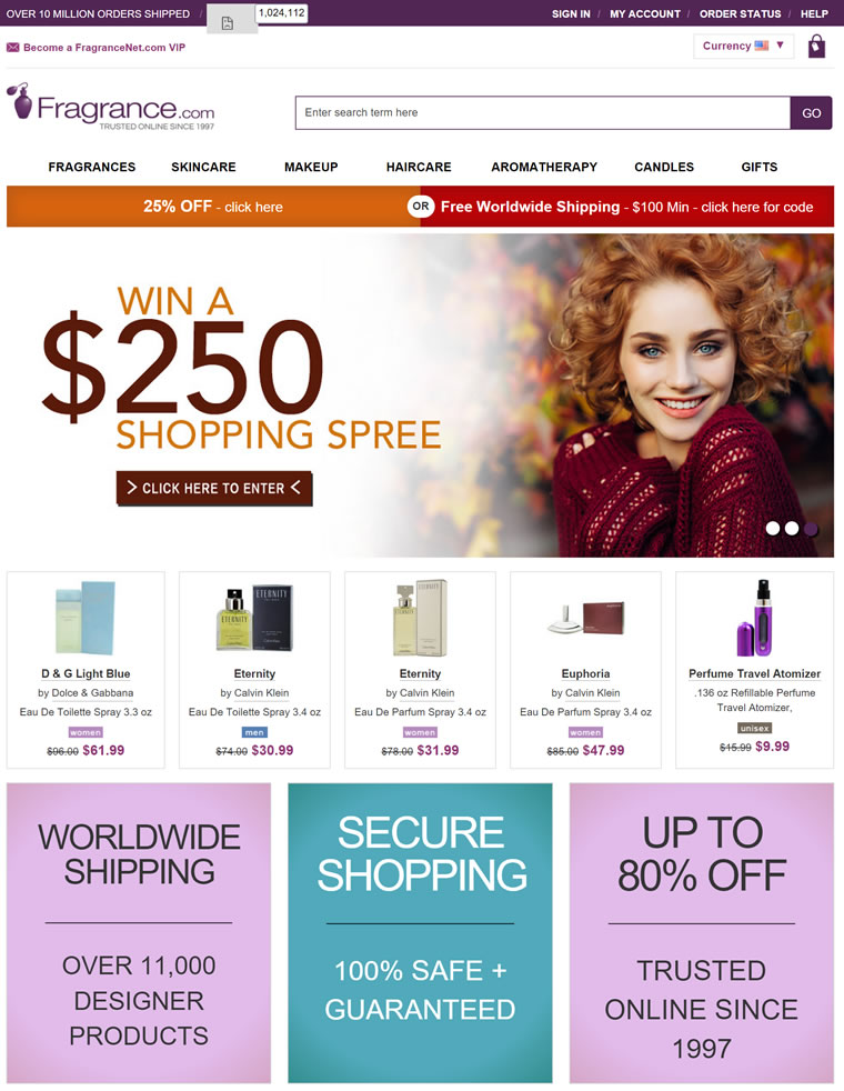 世界上最大的折扣香水店:FragranceNet.com