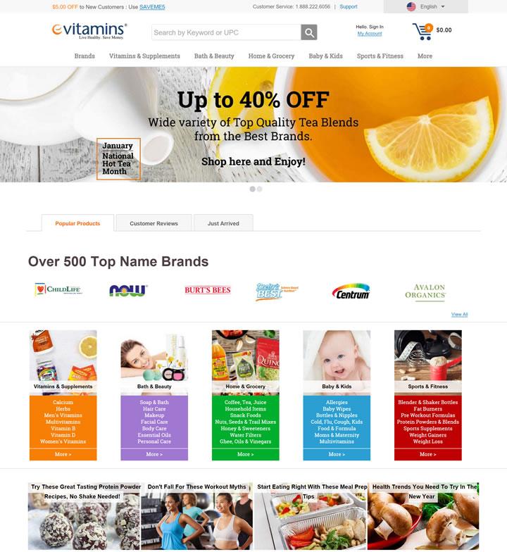 美国专注于健康商品的网站:eVitamins