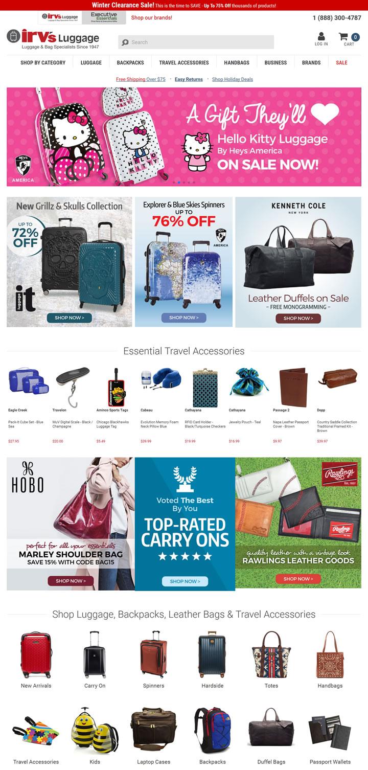 美国销售品牌行李箱包网站:Irv's Luggage