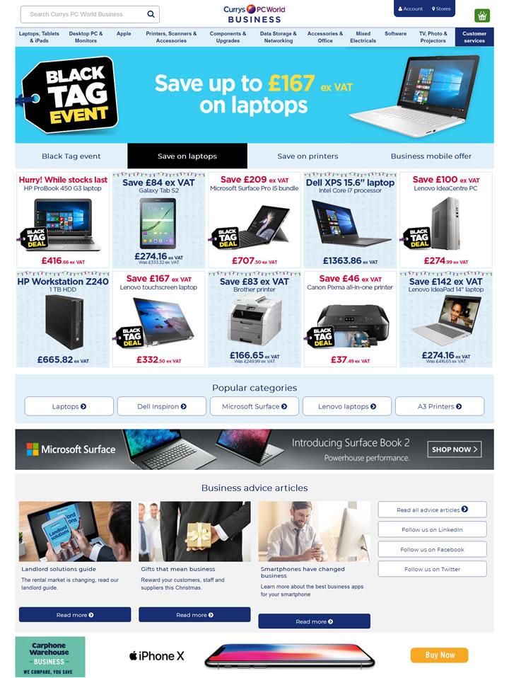 欧洲领先的电子和电信零售商和服务提供商:Currys PC World Business