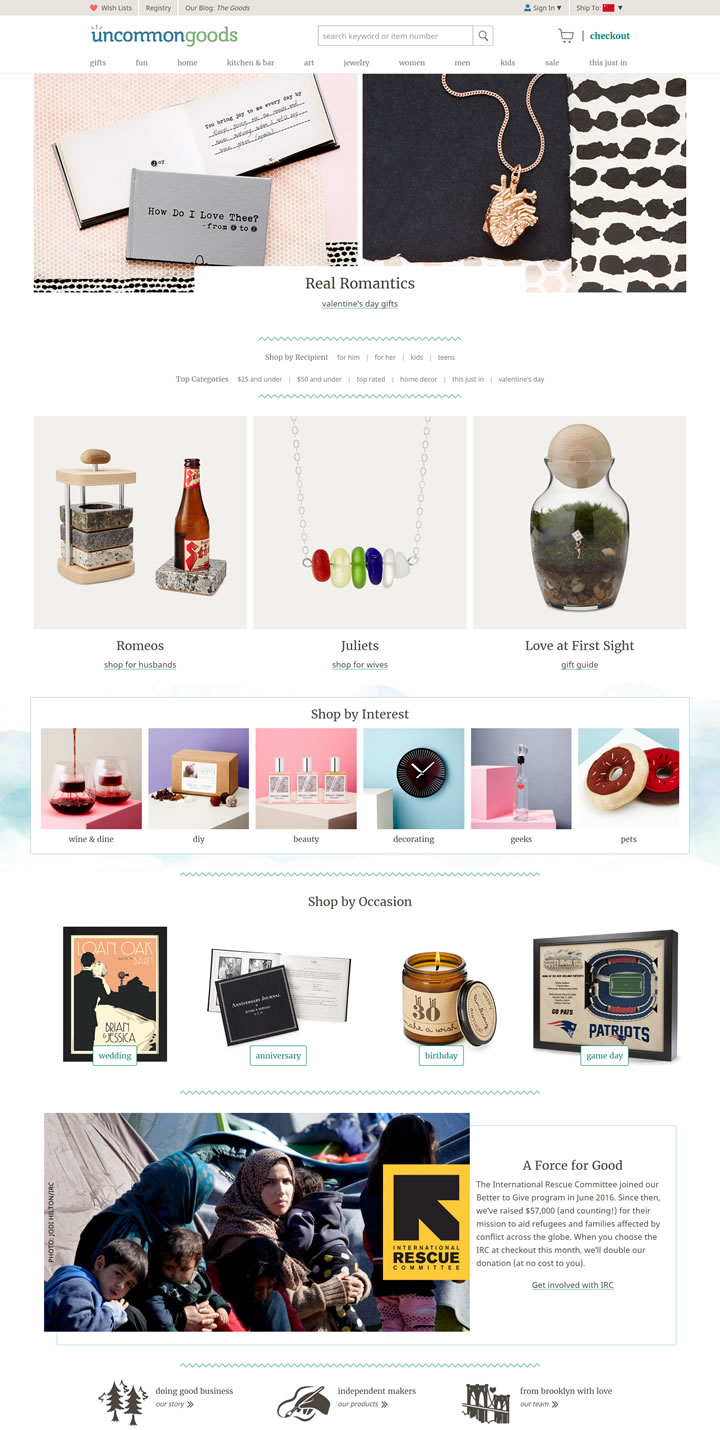 美国创意礼品网站:UncommonGoods