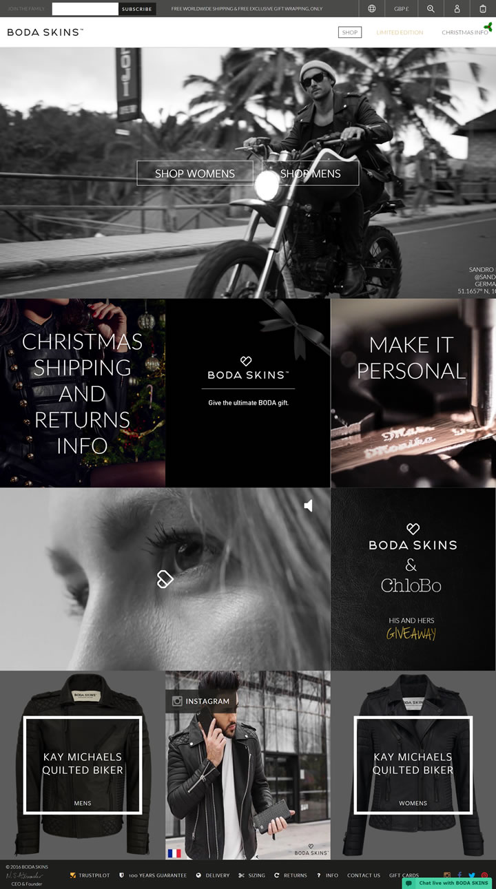 Boda Skins皮衣官网:奢侈皮夹克,全球配送