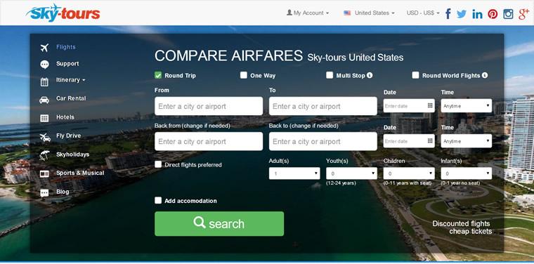 提供世界各地便宜的机票:Skytours
