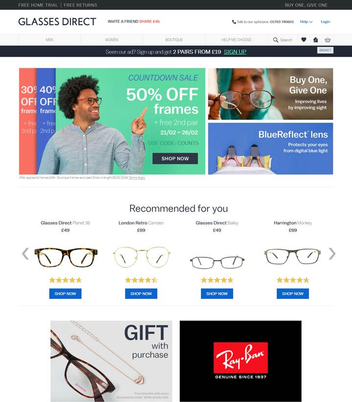 英国第一家领先的在线处方眼镜零售商:Glasses Direct