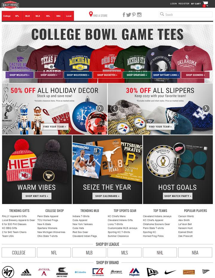 美国体育用品商店:Rally House(NCAA、NFL、MLB、NBA、NHL和MLS)