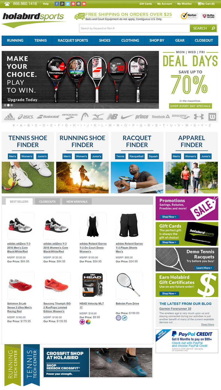 跑鞋、网球鞋、网球拍、服装及装备:Holabird Sports