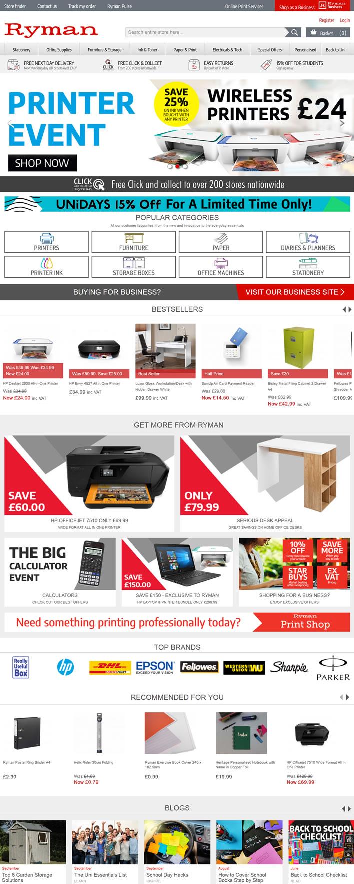 英国文具、办公用品和科技商店:Ryman
