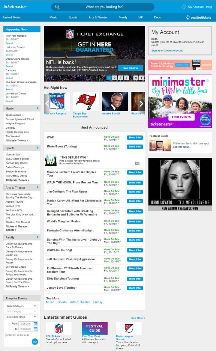 美国演唱会订票网站:Ticketmaster美国