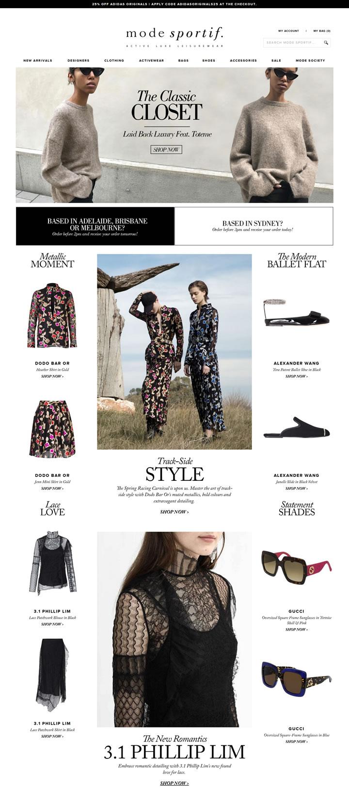 澳洲奢华流行服饰和休闲服购物网站:Mode Sportif