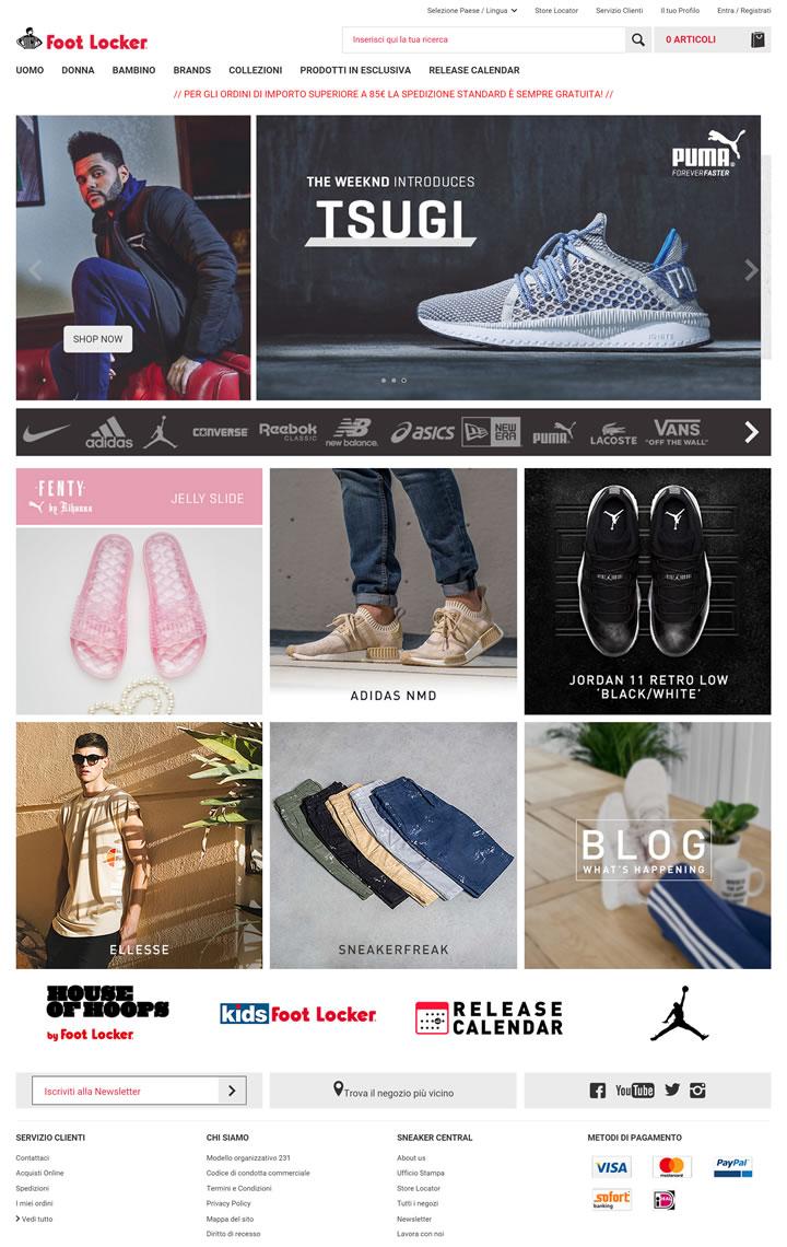 Foot Locker意大利官网:全球领先的运动鞋和服装零售商