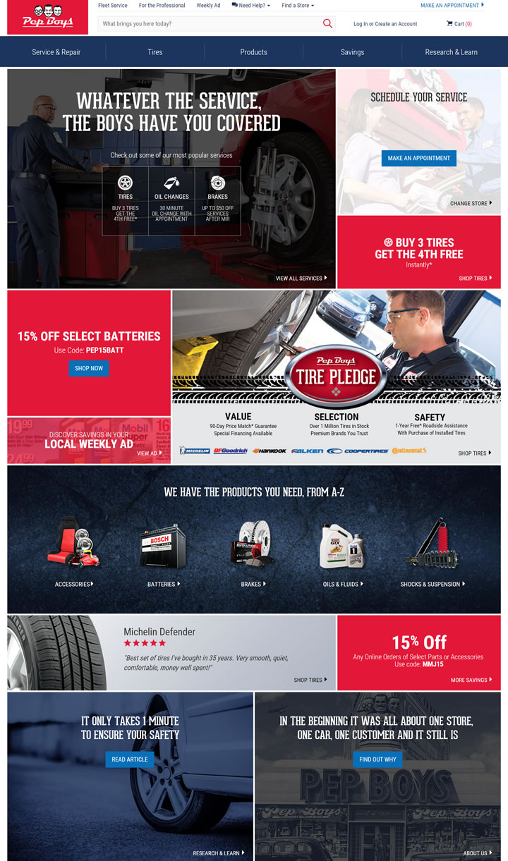 美国汽配连锁巨头Pep Boys官网:轮胎更换、汽车维修服务和汽车零部件