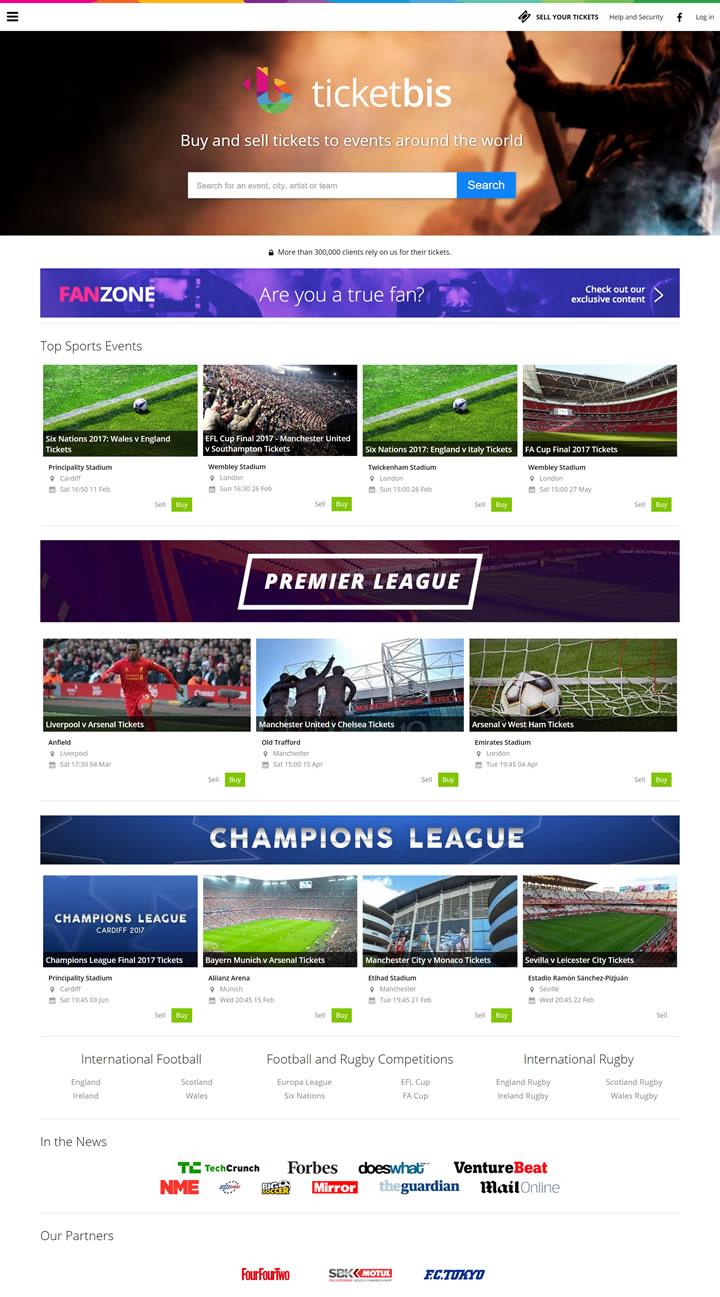 英国购买和销售门票网站:Ticketbis.net