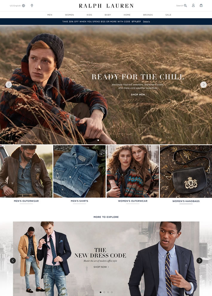Ralph Lauren拉夫·劳伦美国官网:带有浓郁美国气息的高品味时装品牌