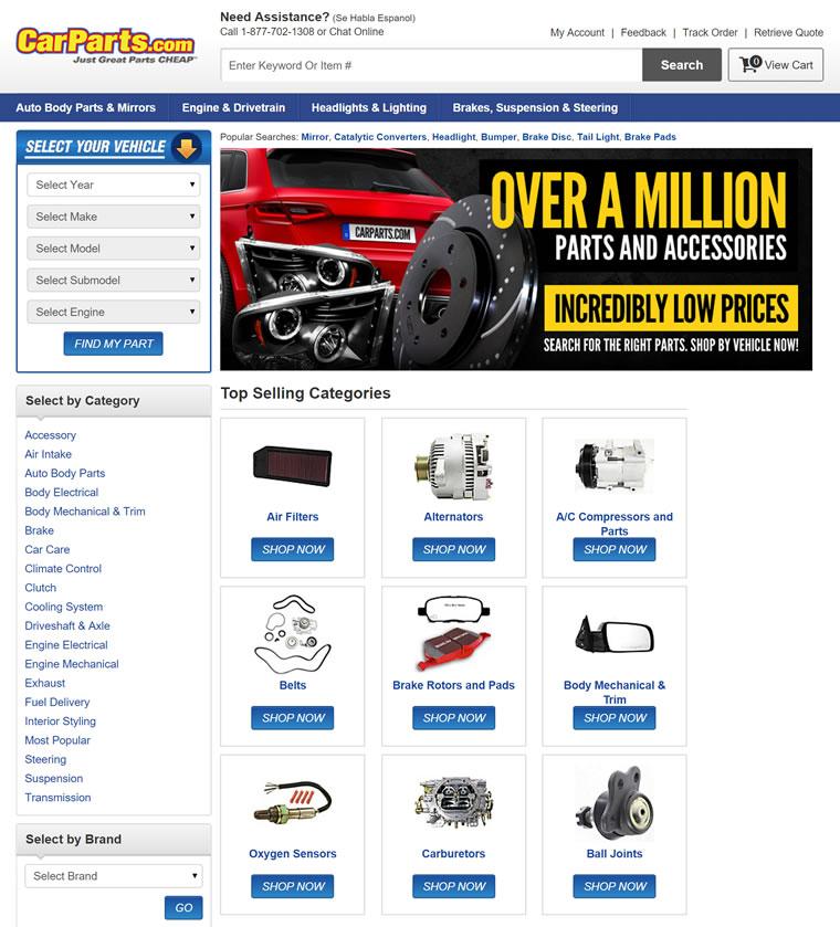 美国汽车零部件和配件网站:CarParts