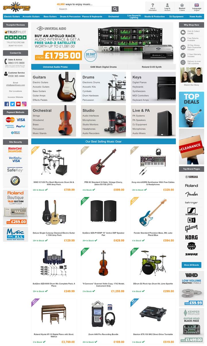 英国音乐设备和乐器商店:Gear4music