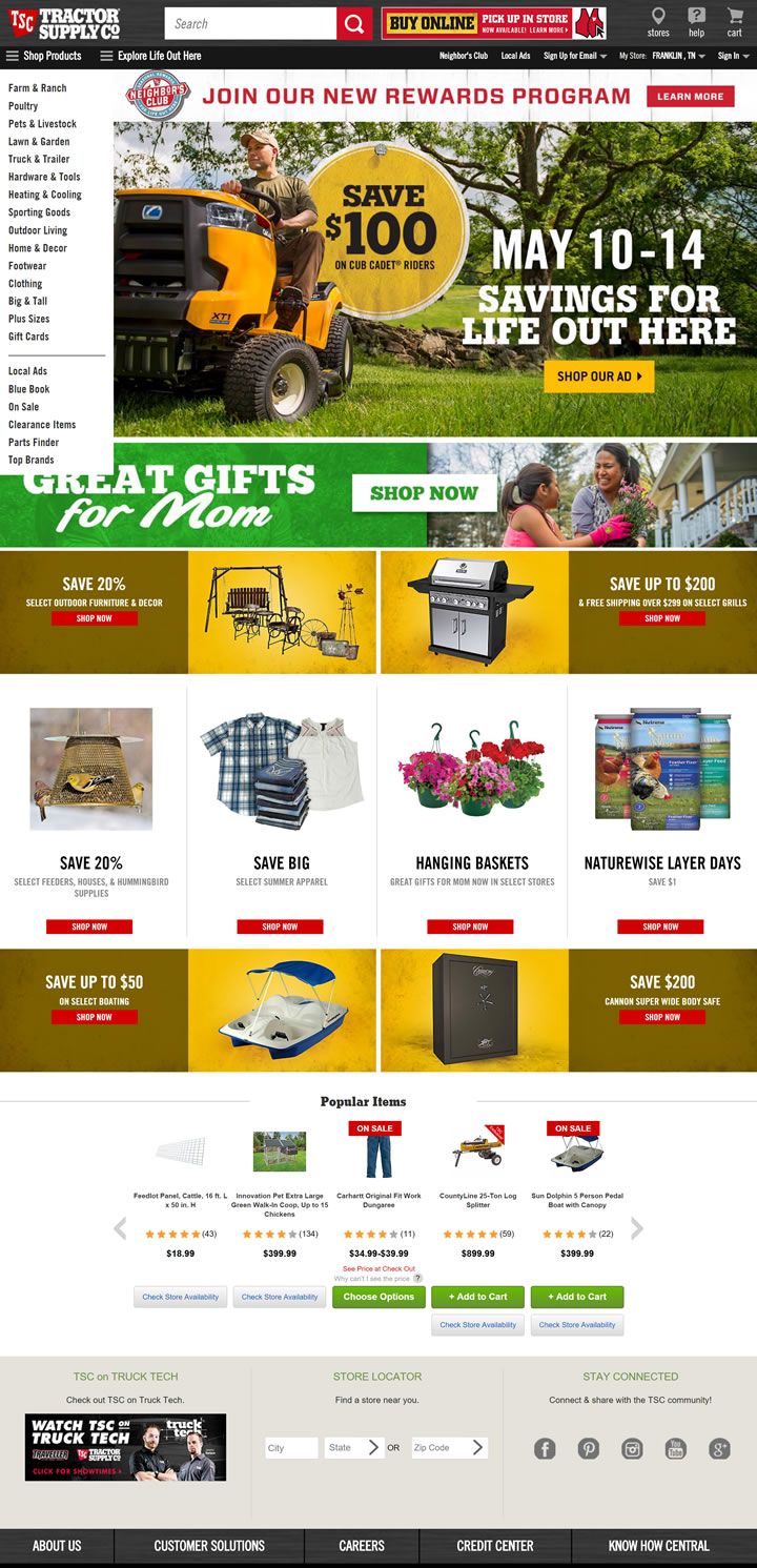美国最大的农村生活方式零售店:Tractor Supply Company(TSC)