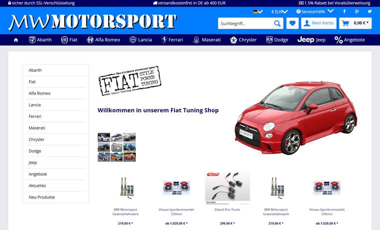 菲亚特、阿尔法罗密欧和蓝旗亚汽车零件配件店:MW Motorsport