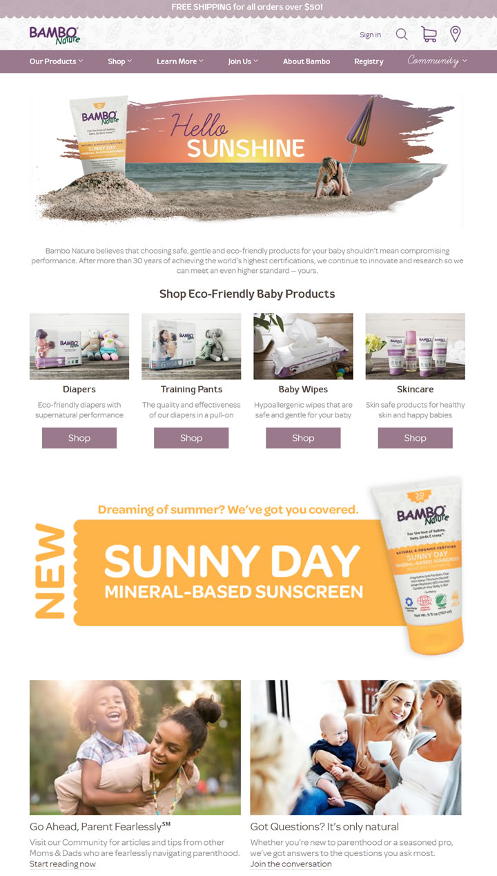 Bambo Nature美国官网:环保婴儿产品(尿布、训练裤、湿巾和护肤品)