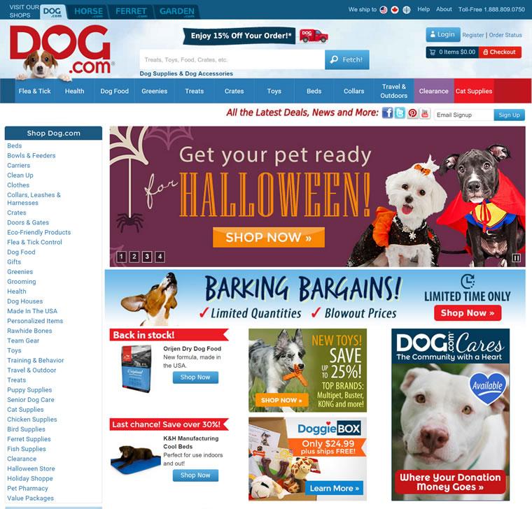 销售所有的狗狗产品:Dog.com