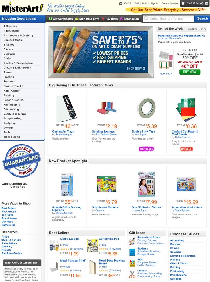 世界上最大的艺术和工艺用品商店:MisterArt.com