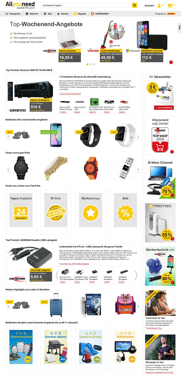 与德国邮政DHL合作的网上综合型超市:Allyouneed