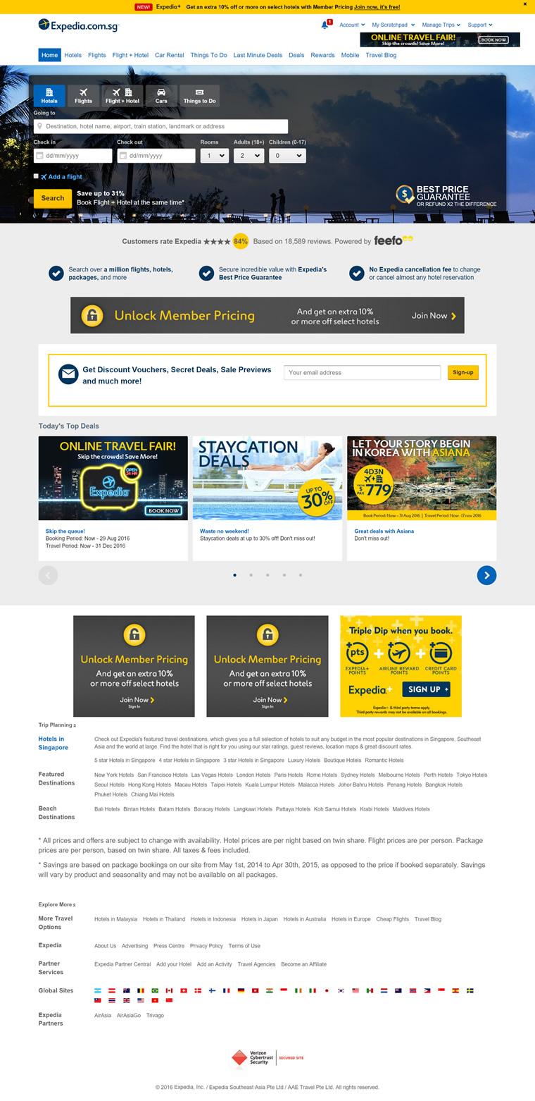 世界上最大的在线旅行社新加坡网站:Expedia新加坡