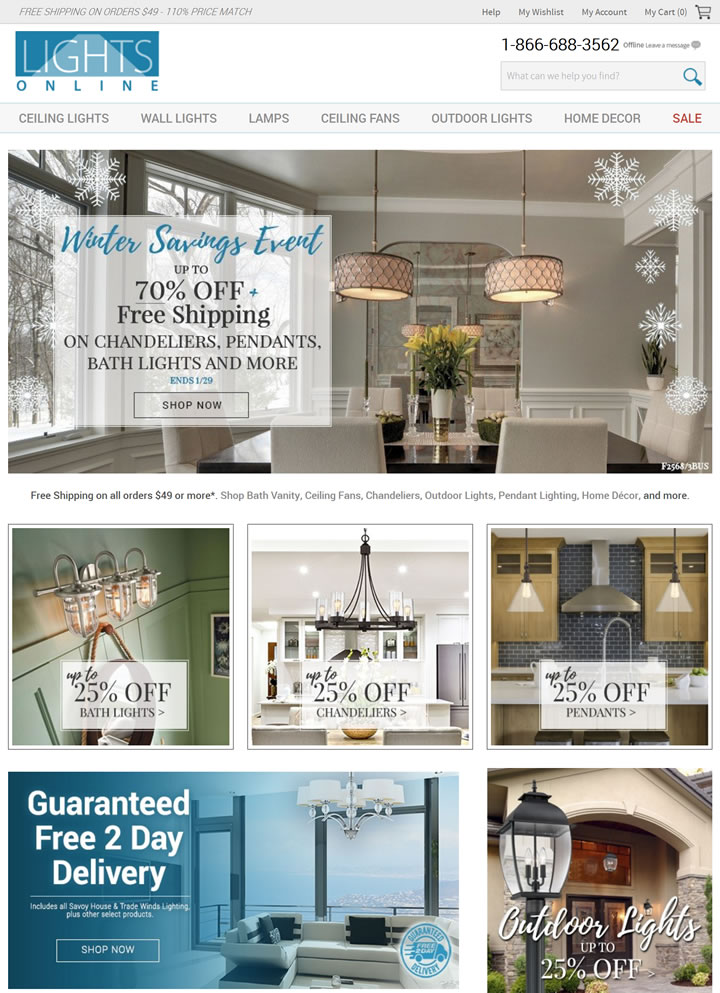 美国领先的精品家居照明和装饰产品在线零售商:LightsOnline.com