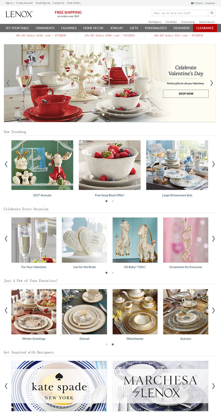 Lenox官网:精美的瓷器&独特的礼品