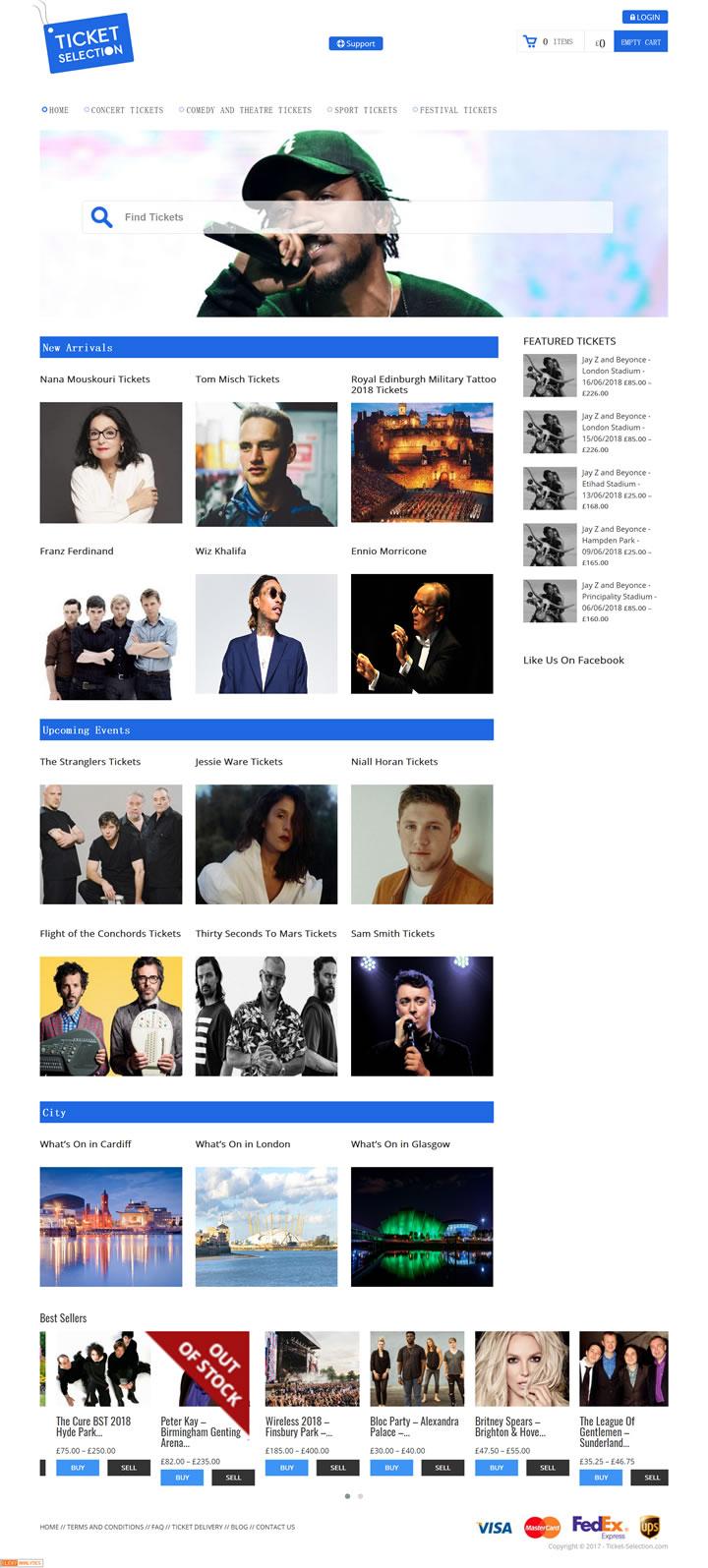 英国演唱会订票网站:Ticket Selection