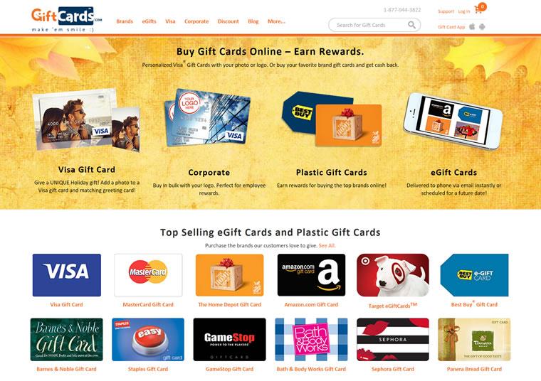 美国领先的礼品卡网站:GiftCards.com