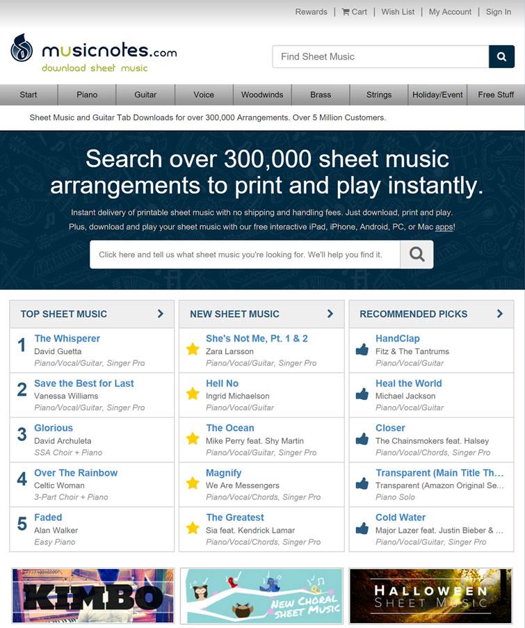 超30万乐谱下载:Musicnotes.com