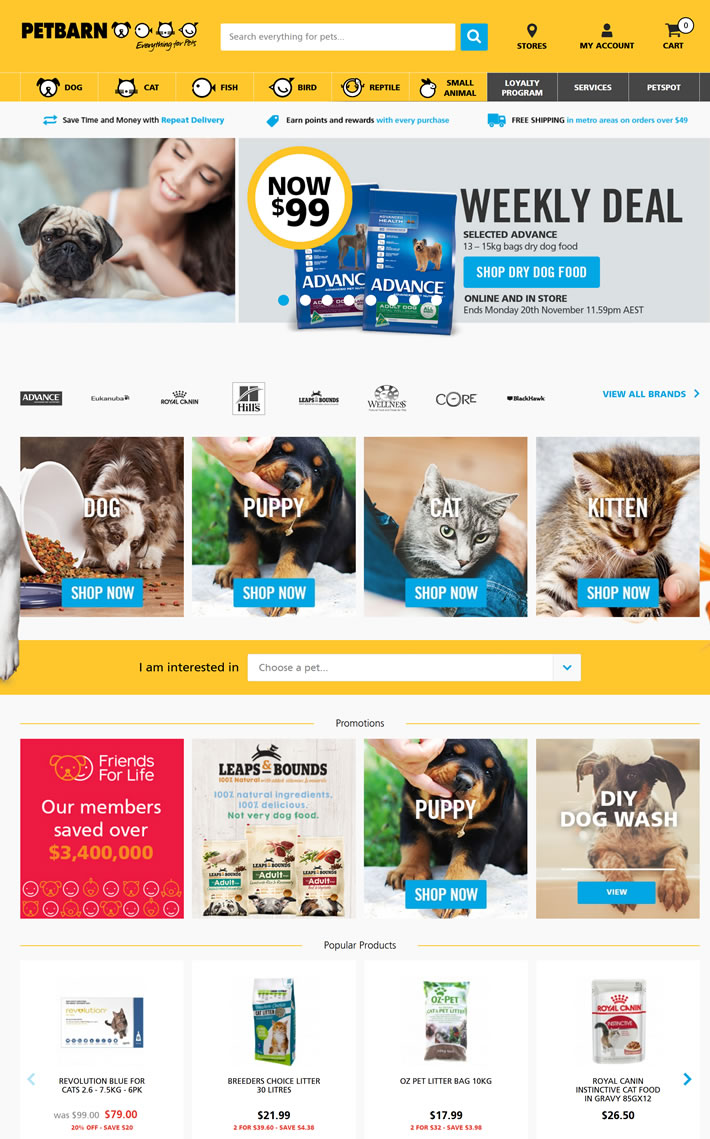 澳大利亚宠物商店:Petbarn