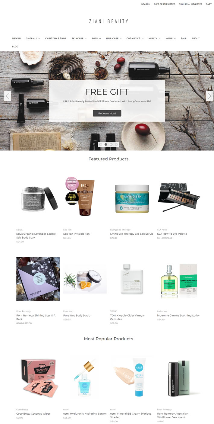 澳大利亚自然和有机的健康美容产品一站式商店:Ziani Beauty