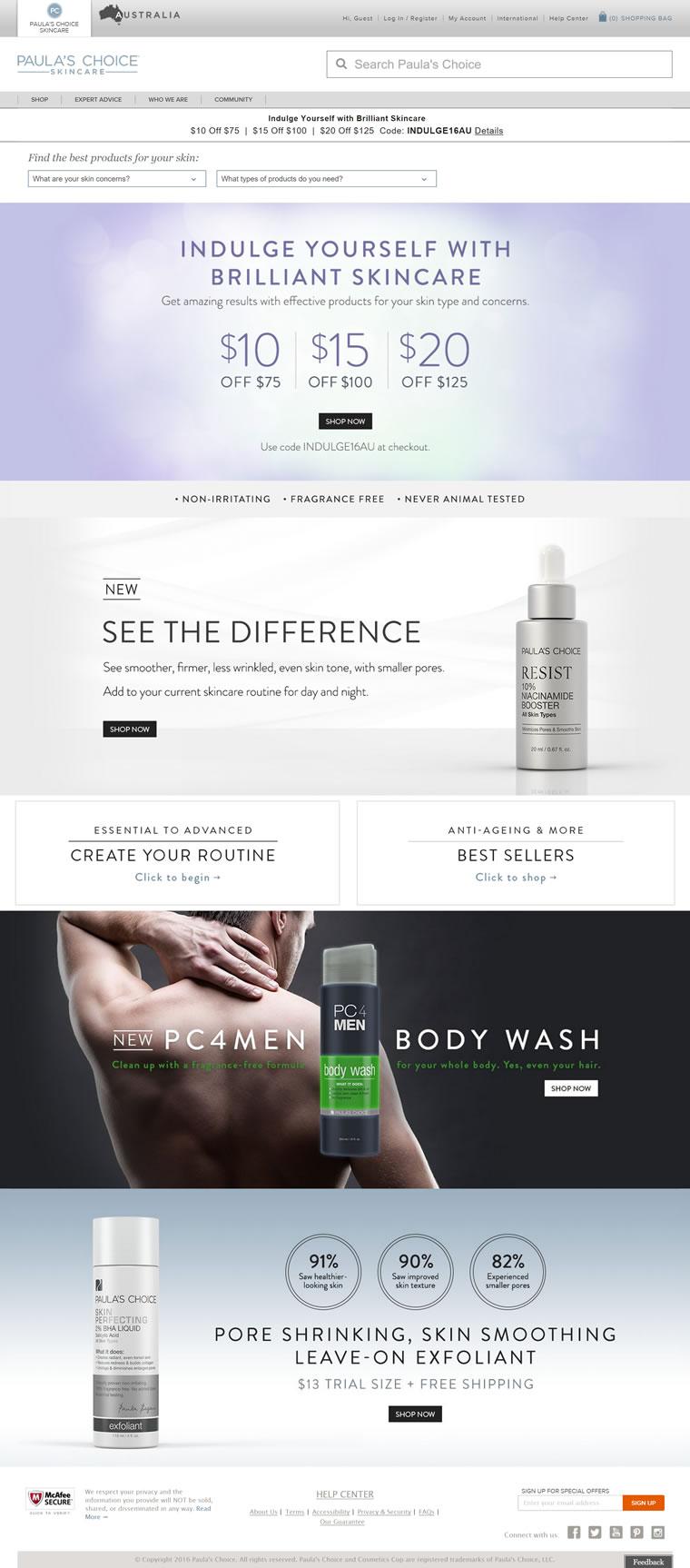 宝拉珍选澳大利亚官方购物网站:Paula's Choice澳大利亚
