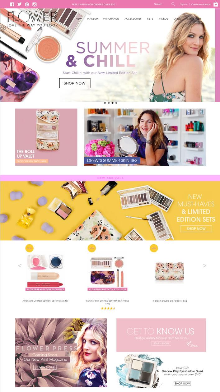 好莱坞女星德鲁·巴里摩尔自创的彩妆品牌:Flower Beauty