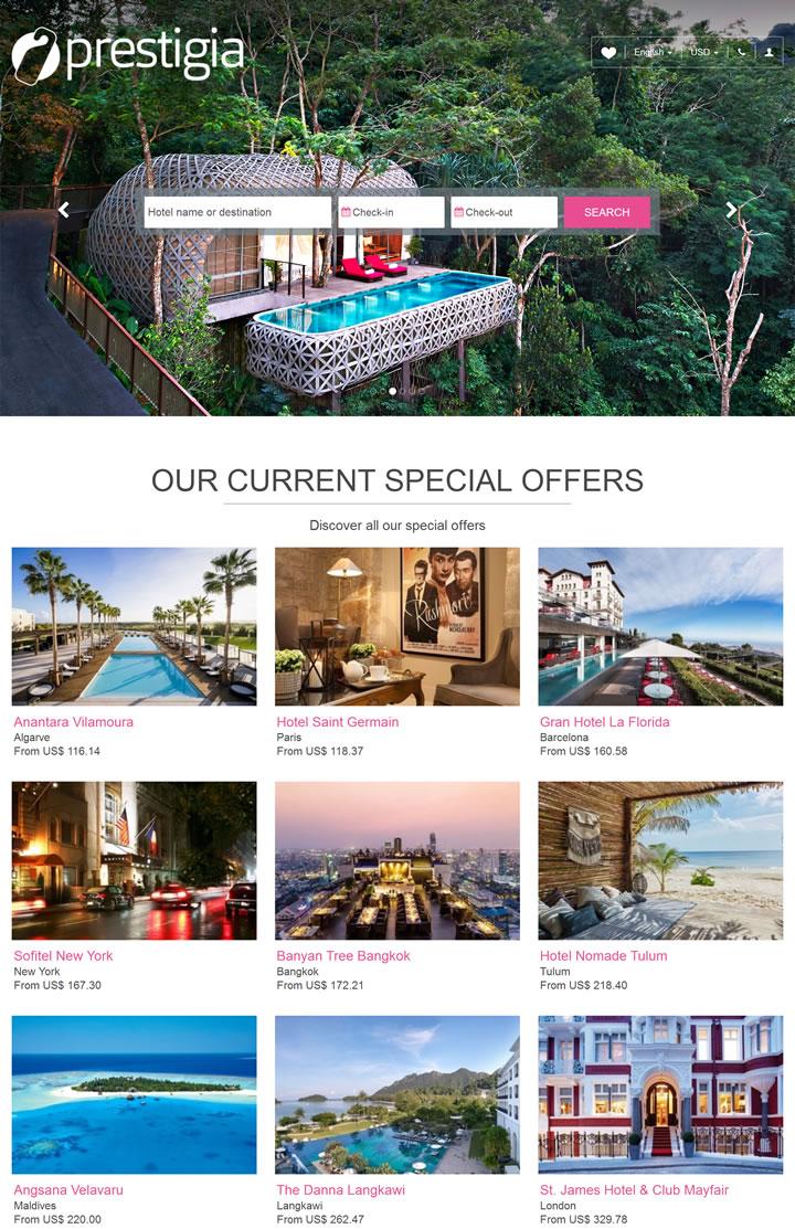 全世界最美丽的四星和五星级酒店预订:Prestigia.com