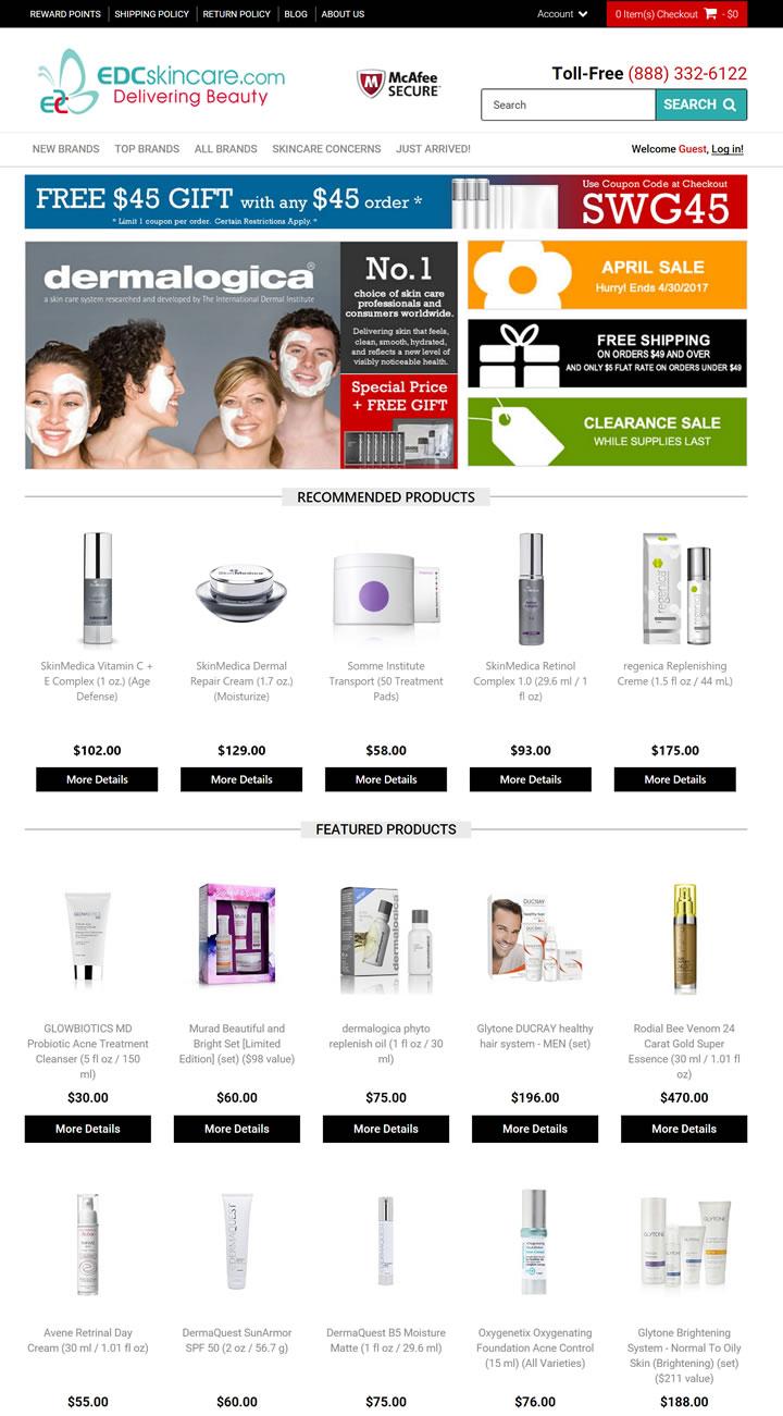 美国药妆网站:EDCskincare.com(防晒、痤疮、抗衰老等)