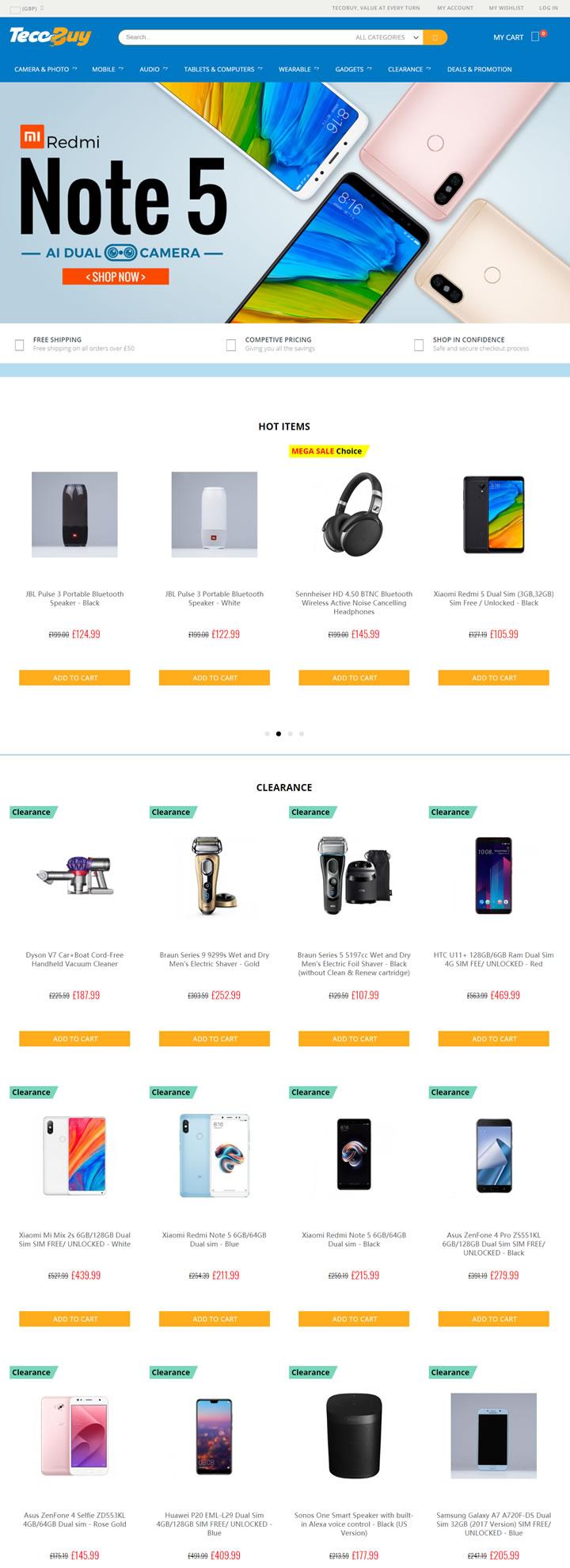 英国在线电子和小工具商店:TecoBuy