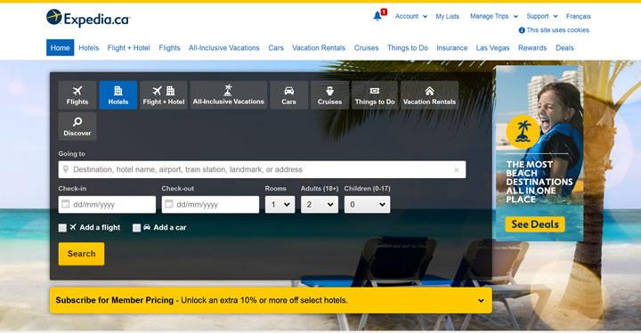 Expedia加拿大官方网站:加拿大最大的在线旅游提供商
